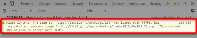ChromeデベロッパーツールでMixed Contentの原因を特定