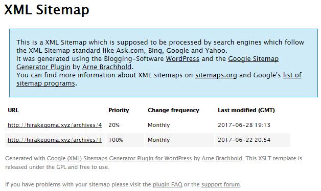 Google XML Sitemapsが作成したサイトマップファイル