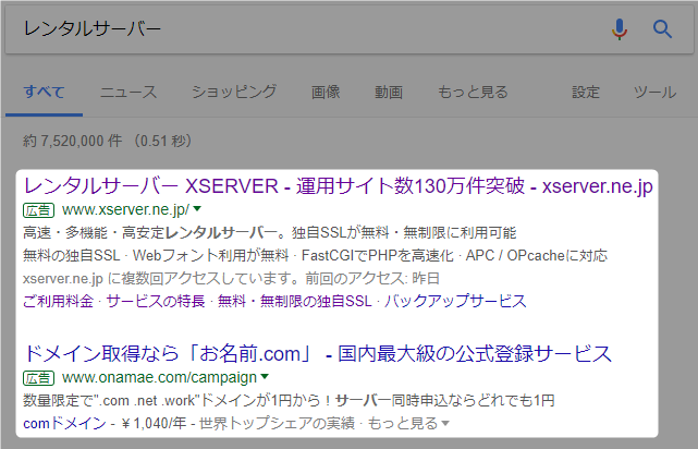 Google AdWordsの広告