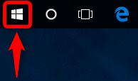 タスクバーのWindowsボタン